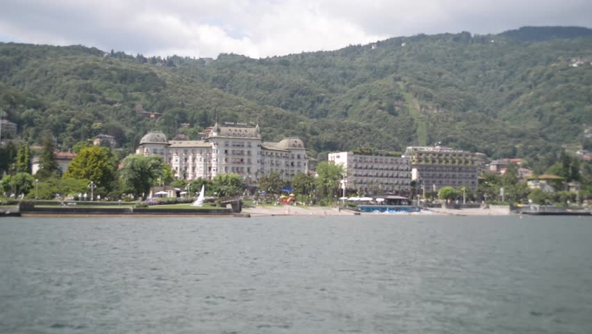 View panorama of the town of Stresa from the lake Lago Magiore - HD stock footage clip