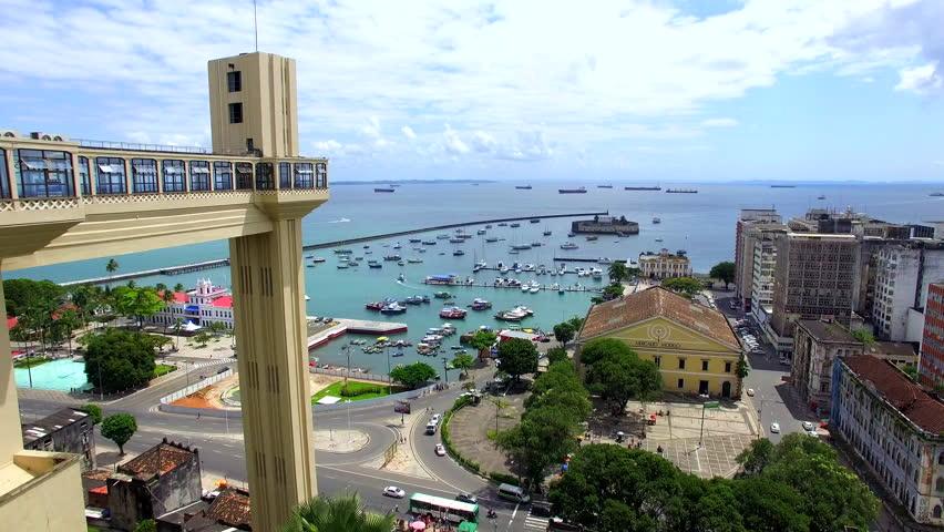 Aerial view of Lacerda Elevator and All Saints Bay (Baia de Todos os Santos) in Salvador, Bahia, Brazil.