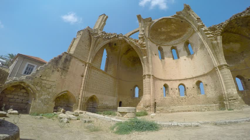 Ruins of the St George of the Greeks Church. Famagusta, Cyprus - 4K stock footage clip