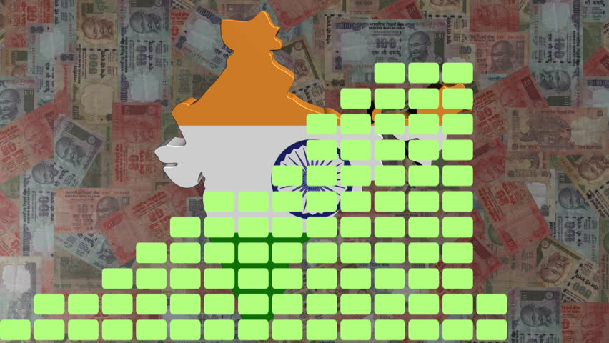 Graph with India map flag with Rupees animation - HD stock footage clip