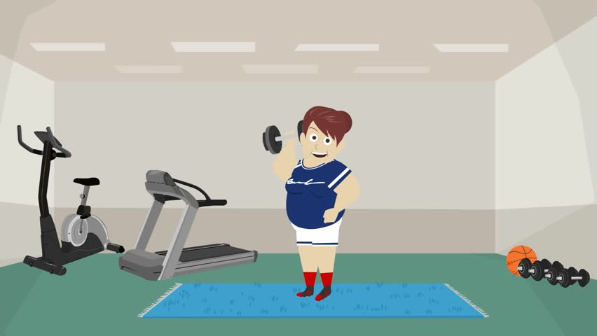 A Woman Trained In The Gym The Woman Lifts Dumbbells Do