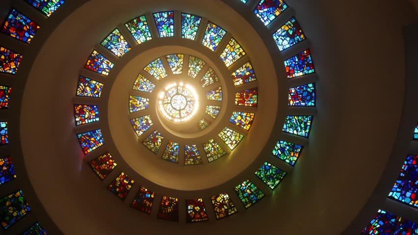 Dallas, Texas - Panning interior shot of the Thanks Giving Chapel.