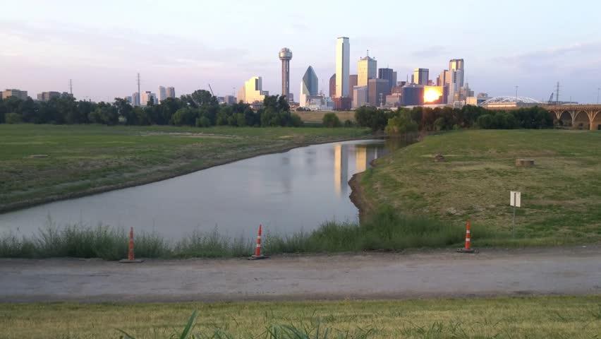 Dallas, Texas - August, 2015 - Panning shot of the Dallas Skyline near Houston Street.