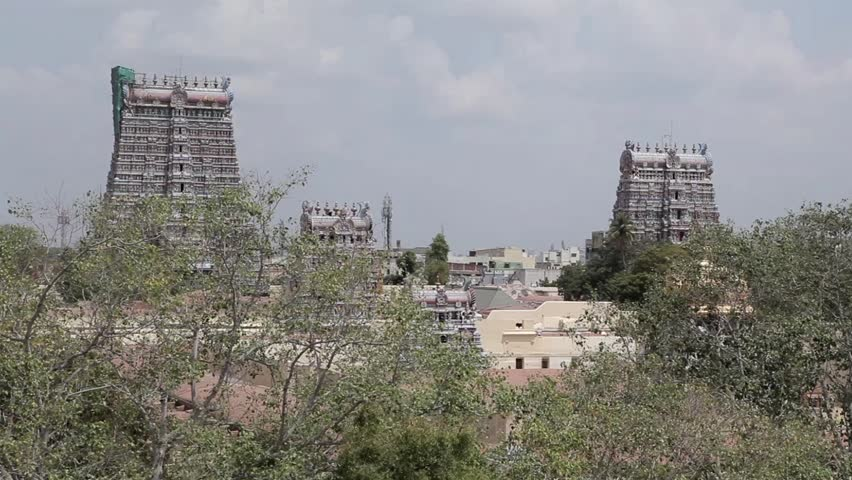 Meenakshi Amman Temple  is a historic Hindu temple located on the southern bank of the Vaigai River in the temple city of Madurai, Tamil Nadu, India. February 2014 - HD stock video clip