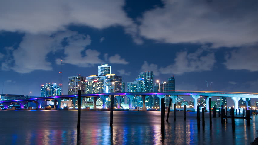 Time Lapse Of Miami Skyline At Night With Clouds Passing