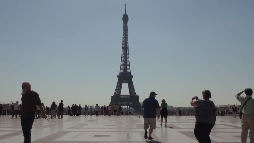 Slow Motion of Tourists with Eiffel Tower view Trocadéro in the morning. PARIS, FRANCE - 25 January 2014; Slow Motion of people taking pictures of the Eiffel Tower in the morning. View from Trocadéro. | Shutterstock HD Video #11466371
