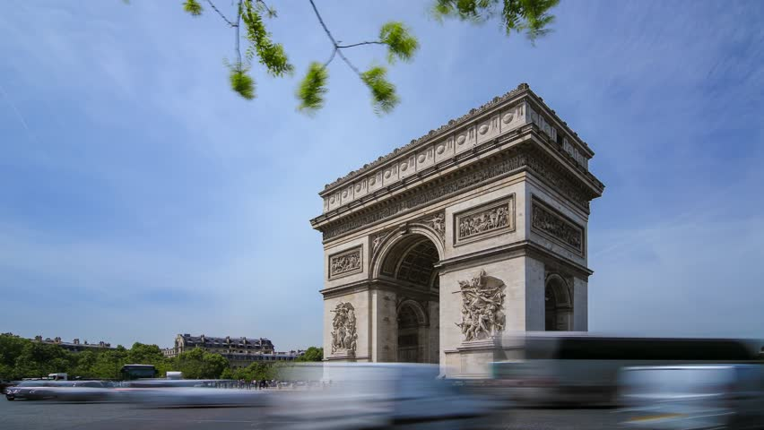 PARIS - MAY 2015: Car traffic around Arc de Triomphe