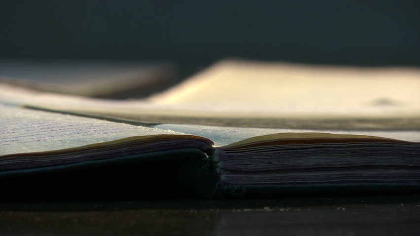 Old vintage diary memo book opened to reveal yellow, stained pages.  - HD stock footage clip