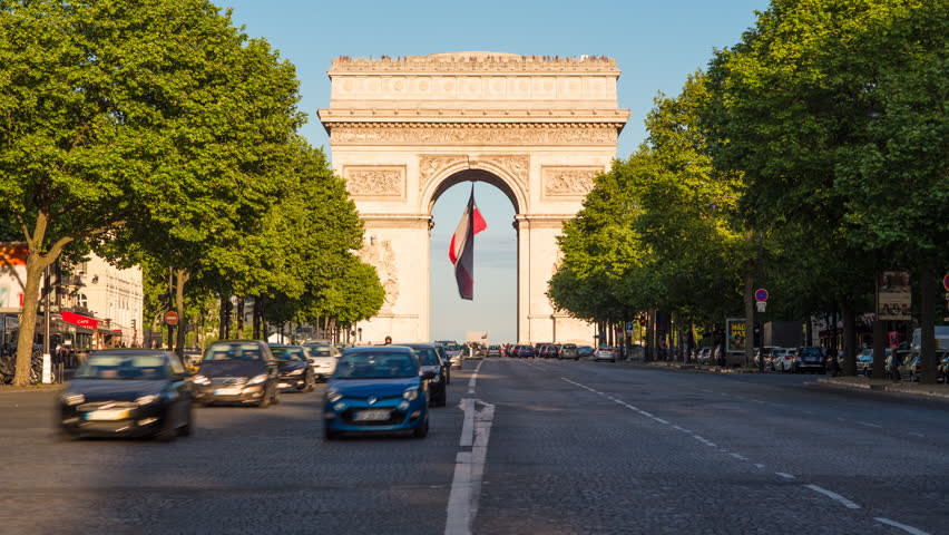 france paris etoile french flag under arc de triomphe. Black Bedroom Furniture Sets. Home Design Ideas