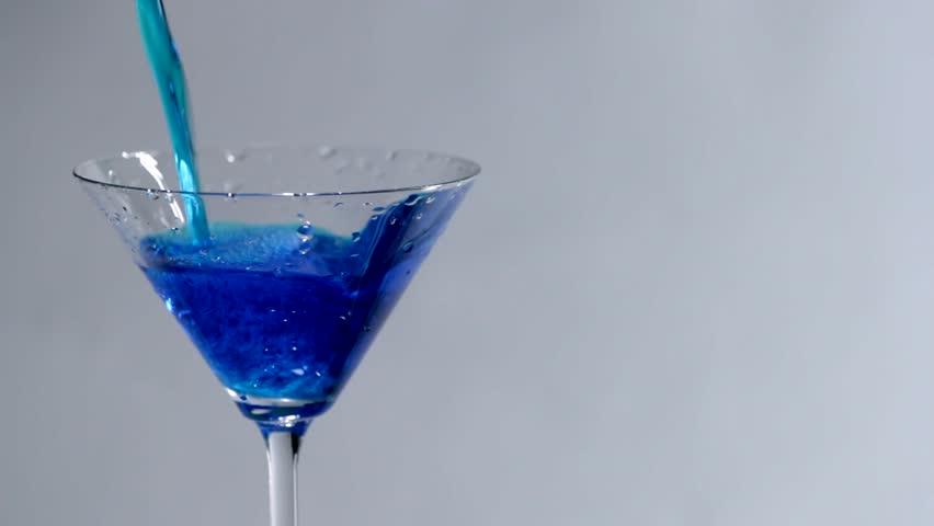 Swimming Pool Martini Shot Cherry Drops Into Martini