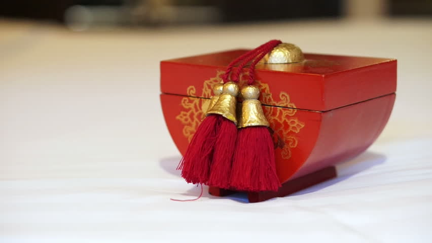 Video of red and gold Chinese wooden box - HD stock footage clip