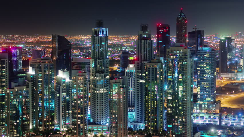Dubai City Night Illumination Apartment Buildings Up View