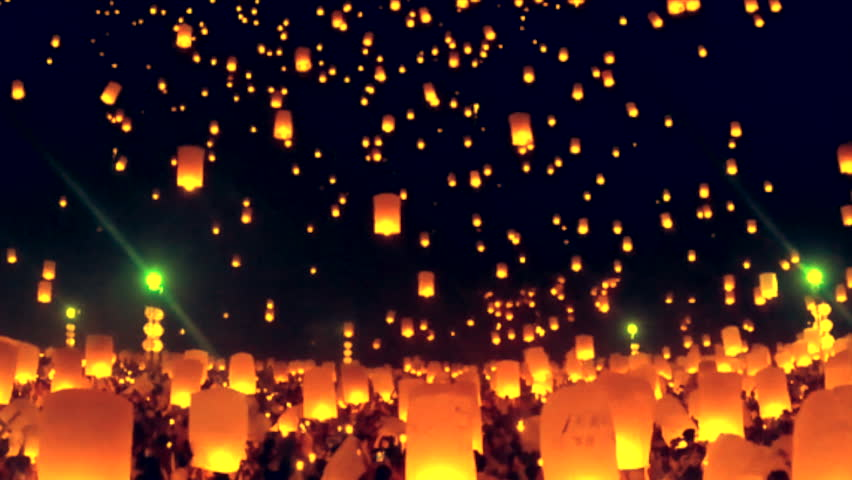 Landmark Floating lanterns in Yee Peng Festival, Loy Krathong celebration in Chiangmai, Thailand  | Shutterstock HD Video #11660555