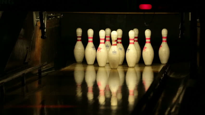 EPHRAIM, UTAH - MAY 2013: Bowling alley spare good score dark family fun. Family recreation and fun as well as a big sport business competition or leagues to challenge other teams. Ten pin bowling.