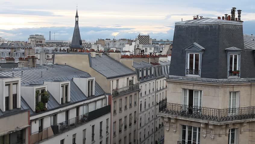 Paris establishing shot, panoramic view of residential buildings in city center | Shutterstock HD Video #11671238