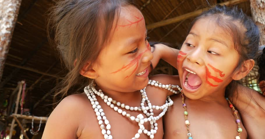 Native Brazilian children playing at an indigenous tribe in the Amazon | Shutterstock HD Video #11682731