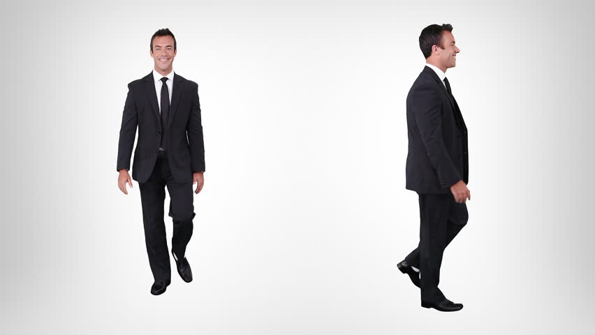 Businessman walking. Alpha matte. 2 in 1. Lateral and frontal view.