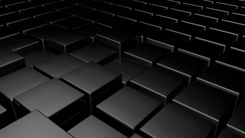 Dark Cubes Wallpapers: Black 3d Glossy Plastic Cubes Smoothly Going Up And Down