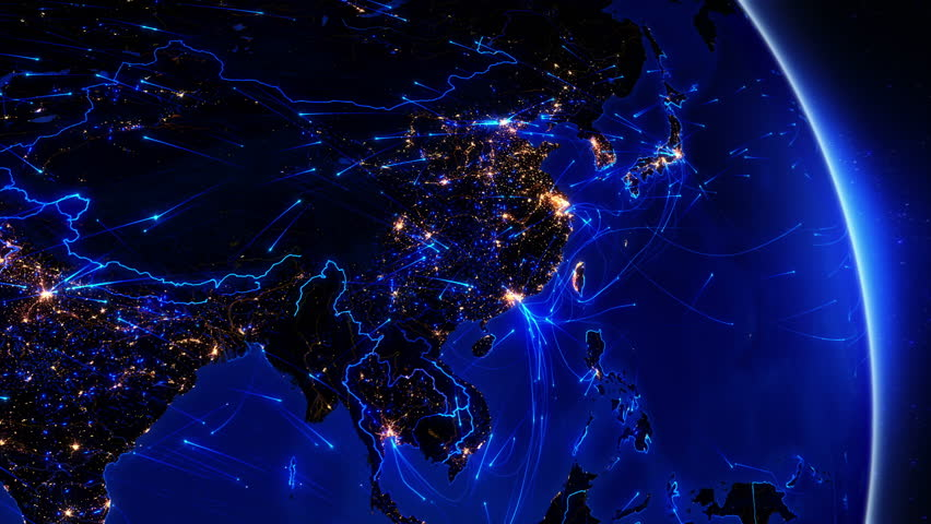 Earth connections. Asia. Japan and China. Animation of the Earth with bright connections and citiy lights. Aerial, maritime, ground routes and country borders. 2 in 1 file. Dolly and locked. Blue. | Shutterstock HD Video #11727533