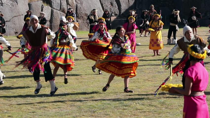 Cusco, Peru , 06 24 2015 Men And Women In Traditional Inca Costumes Inti Raymi