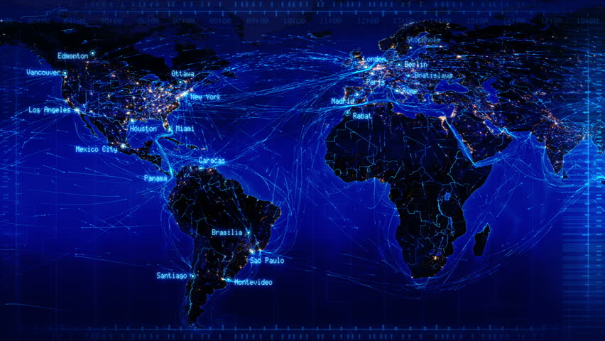 World Map With Connections And City Lights. Loopable World Map With Major Cities Names And