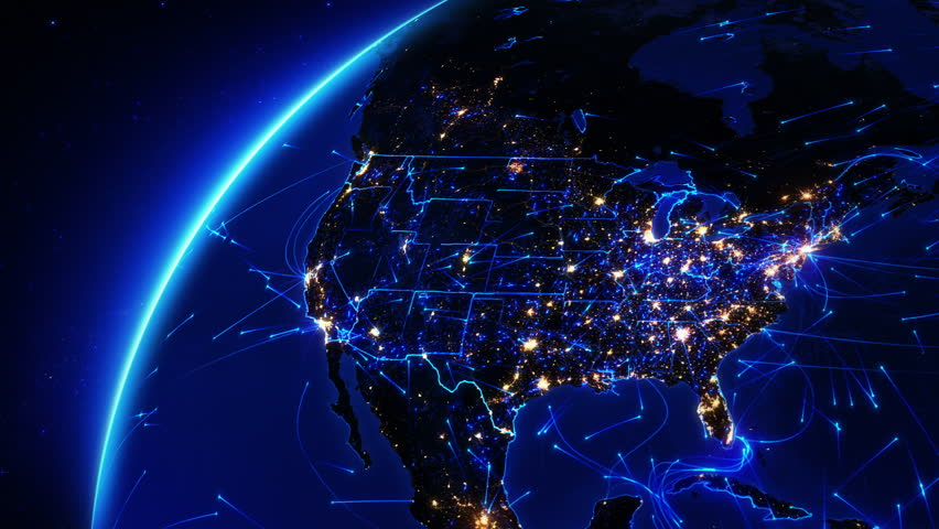 Earth bright connections and city lights. US. Aerial, maritime and ground routes. State and country borders. Blue. Images courtesy of http://www.nasa.gov. More options in my portfolio. | Shutterstock HD Video #11728469