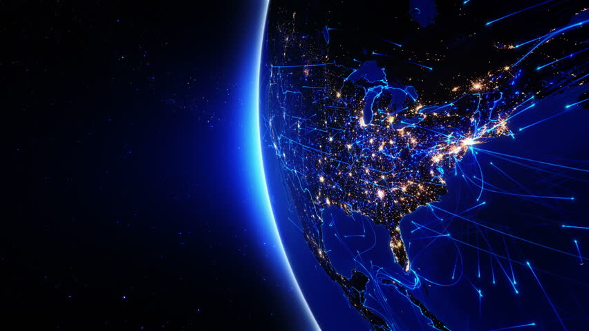 World connections. US. Aerial, maritime and ground routes. State and country borders. Animation of the Earth with bright connections and city lights. 2 shots in 1 file. Locked and dolly. Blue. | Shutterstock HD Video #11728568