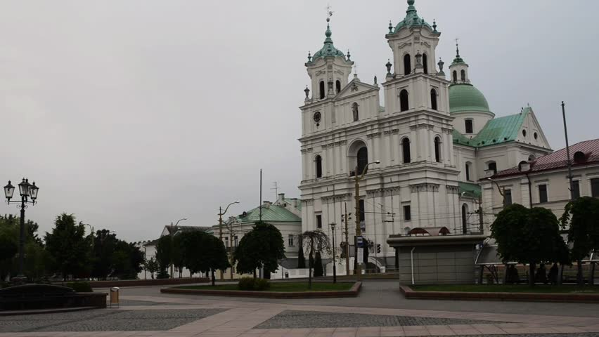 St. Francis Xavier Cathedral is a Roman Catholic cathedral in Grodno, Belarus. Originally a Jesuit church, it became a cathedral in 1991, when the new diocese of Grodno was erected. - HD stock footage clip