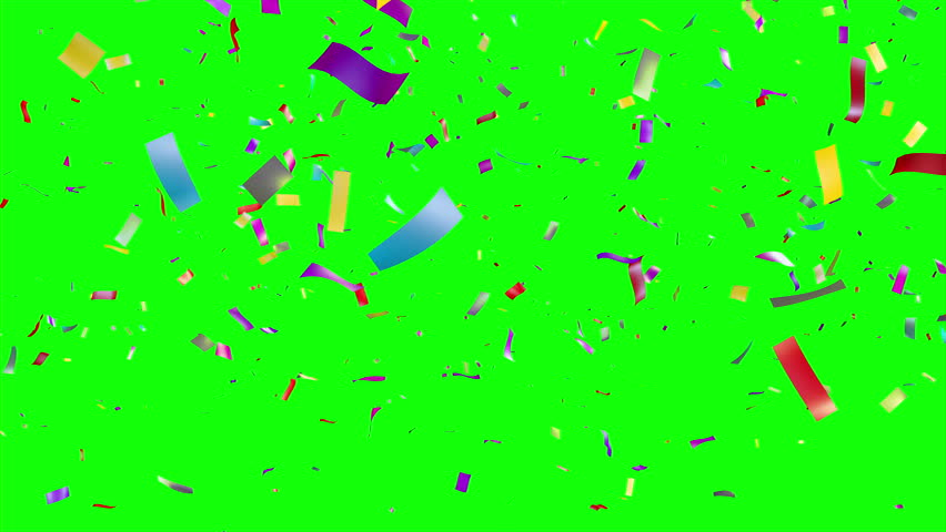 Multicolored Confetti falling over green screen. Holiday or party background. More options in my portfolio. - 4K stock footage clip