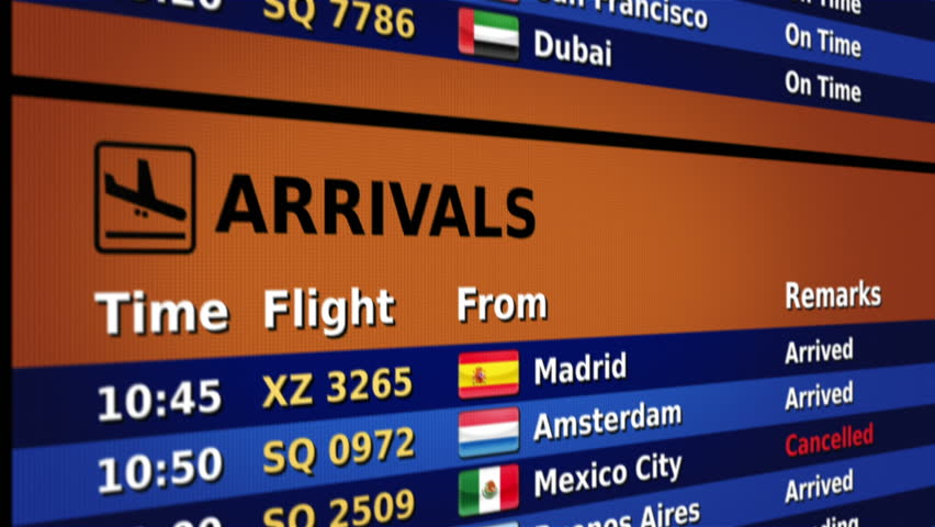 Airport arrival board. Orange and blue. 2 videos in 1 file. Airport arrival board showing time, flight number, city and country flag of the flight. Lateral and frontal view. Loopable. | Shutterstock HD Video #11745227