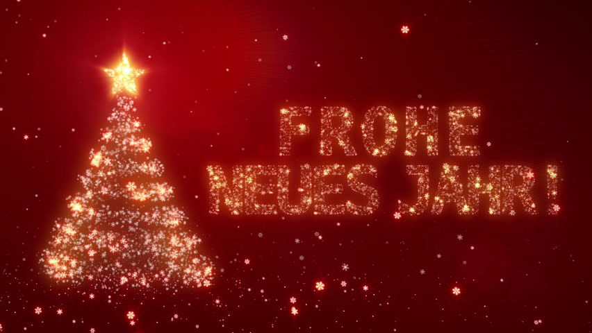 Frohe Neues Jahr. Christmas background with bright snow. Background with the words Happy New Year in different languages. German version. Loopable from frame 391 to the end. | Shutterstock HD Video #11746991