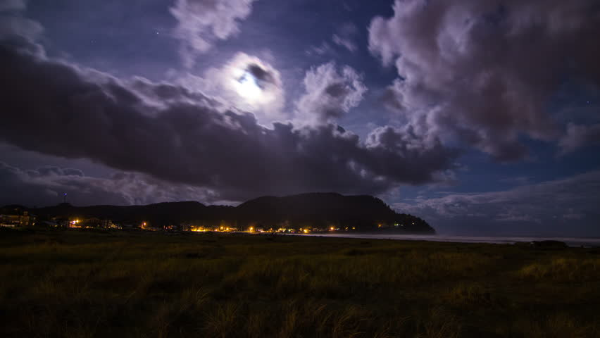 Extreme Wide Shot of Time Lapse Clouds Formation at Seaside in Oregon, USA.