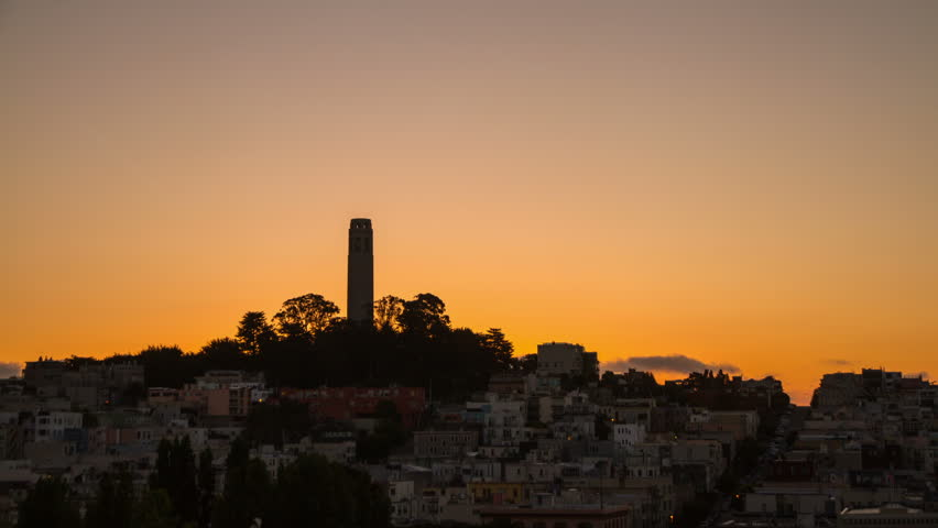 Time Lapse of Sunrise by Coit Tower in San Francisco, California, USA.