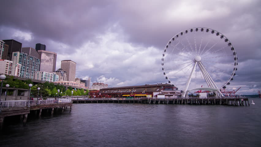 Time Lapse of Ferris Wheel on a Cloudy Afternoon in Seattle,Washington State, USA.