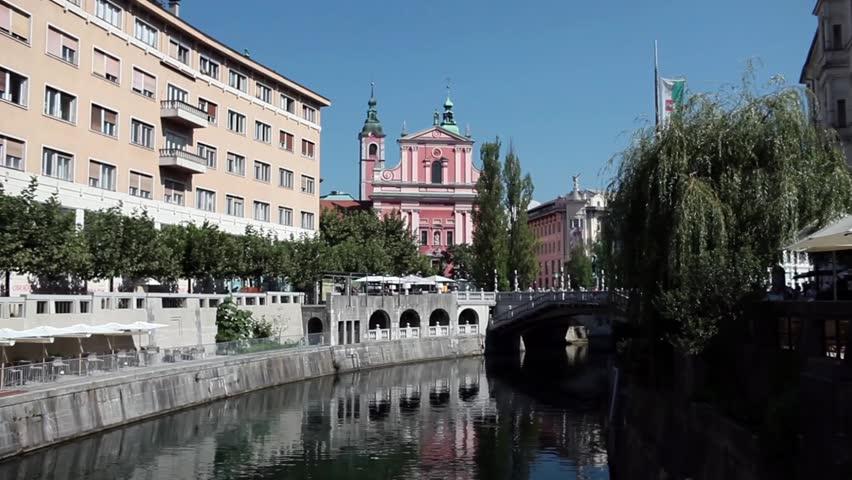 Video clip of Ljubljanica river in the center of Ljubljana, Slovenia.