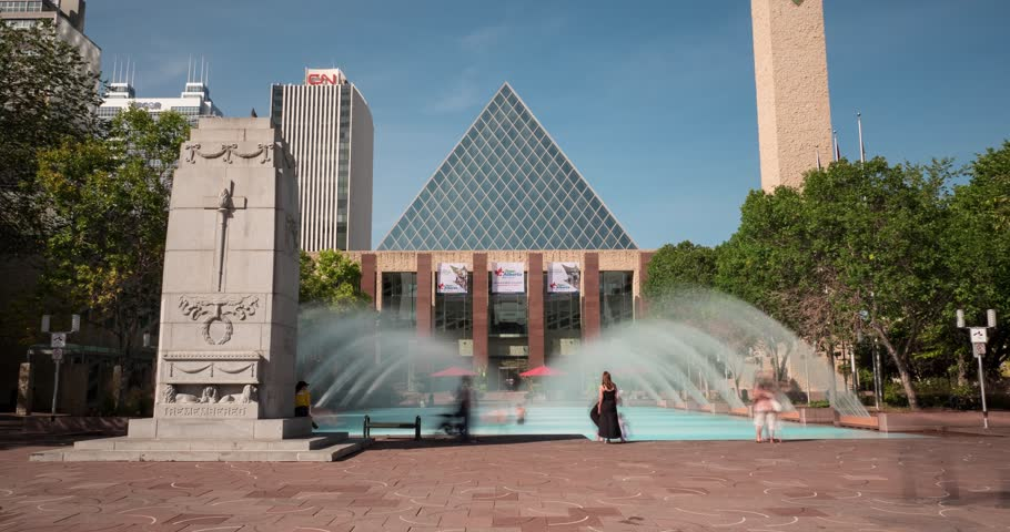 Timelapse of City Hall at Churchill Square in Edmonton Alberta on Aug 27, 2015.