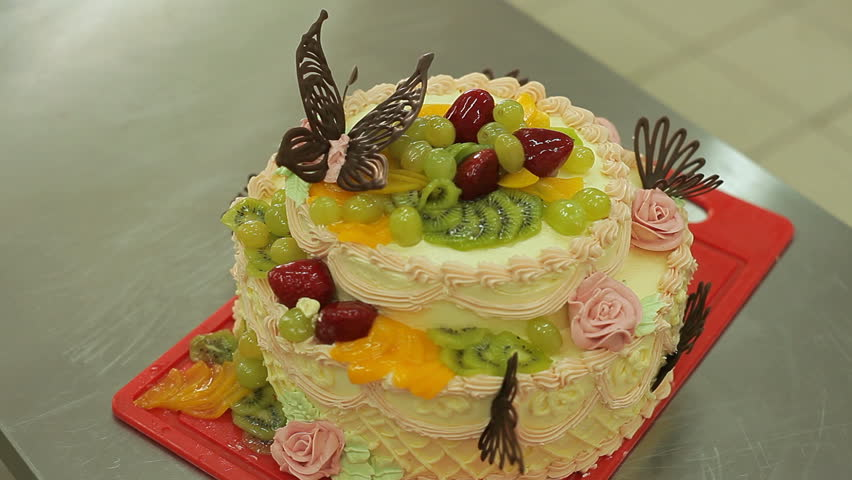 Cake Decorating. Beautiful Cake Decorated With Butterfly ...