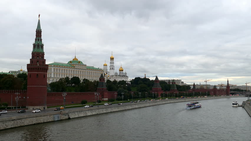 Moscow Kremlin and the river with the ship in September 2015 UHD | Shutterstock HD Video #11799794