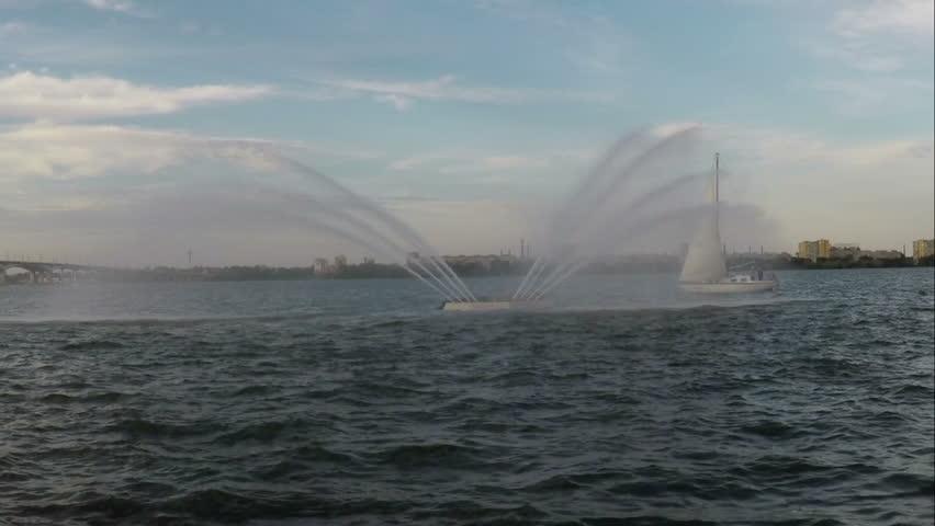 Swan Fountain river Dnepr near Dnepropetrovsk - HD stock footage clip