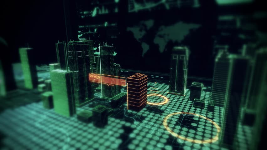 Security Access Scan over Holographic Cyber City displayed on top of Computer Laptop with Futuristic infographics and maps. 4K Resolution | Shutterstock HD Video #11840222