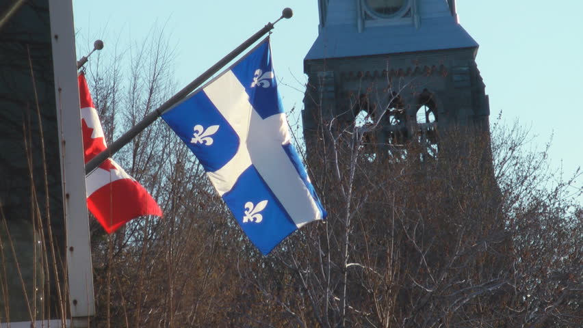 Quebec Canada Provincial Flag - HD stock footage clip
