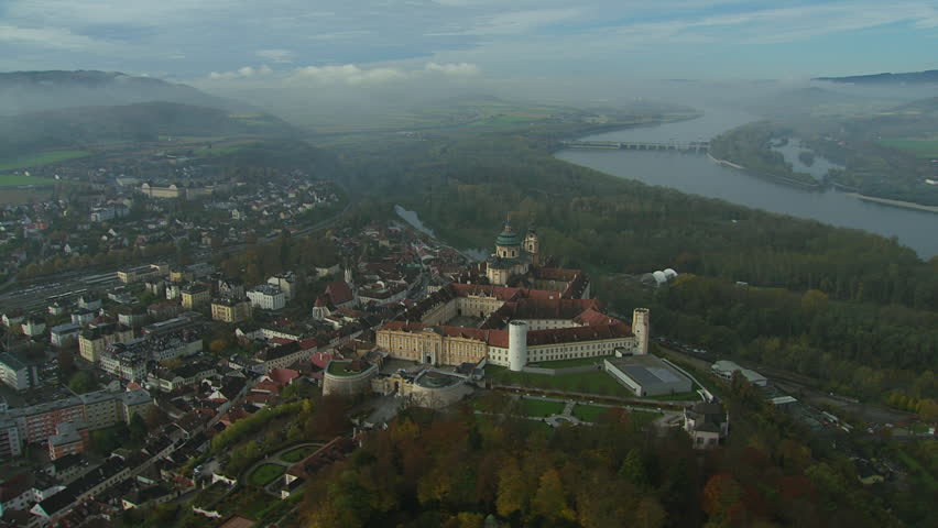 AERIAL Townscape and Melk Abbey / Lower Austria - 10/24/2013 - HD stock video clip