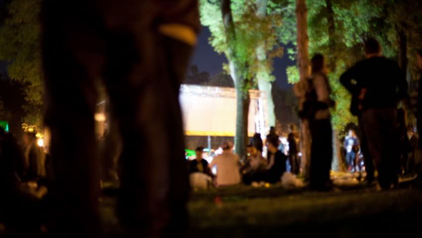 Looping video of crowd dancing at music festival