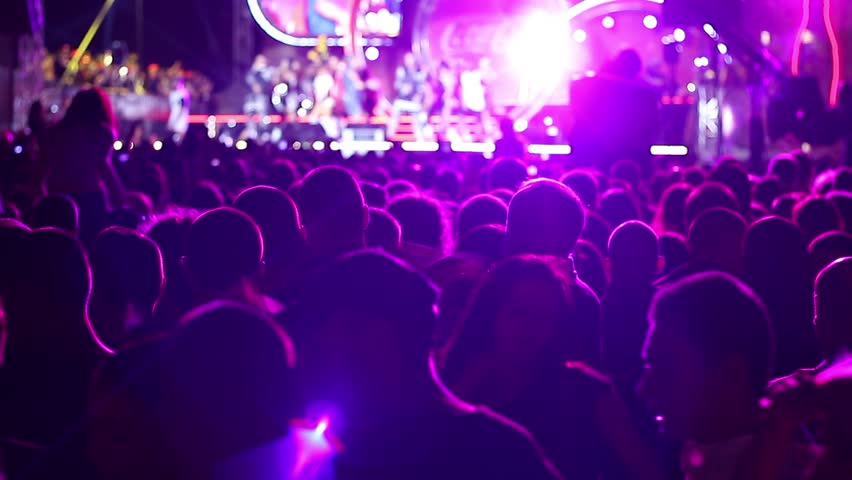 Sofia, Bulgaria - 20 September 2015: Free open air a youth pop concert - Spectators at the grand concert clap waving and singing - HD stock footage clip