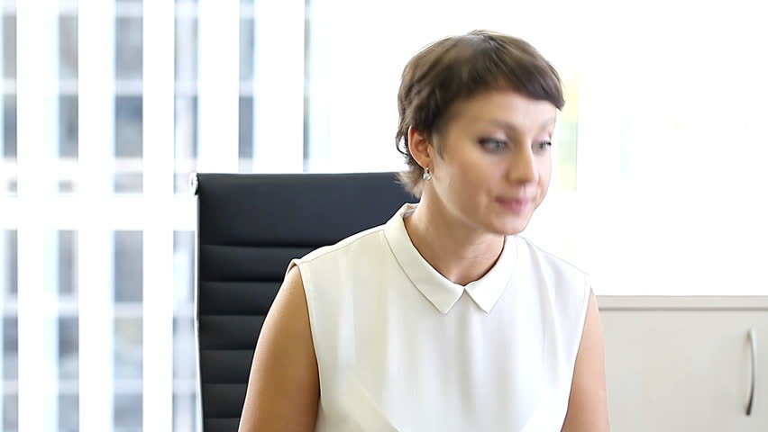 business woman in office , emotions at work   /    business woman in office , emotions at work HD - HD stock video clip
