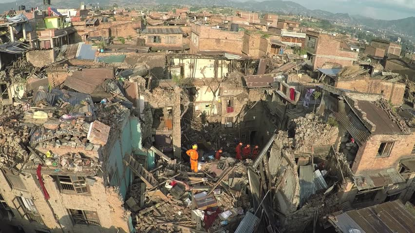 Drone shots at Bhaktapur Nepal with search and rescue team at work after the earthquake in april 2015 | Shutterstock HD Video #11902484