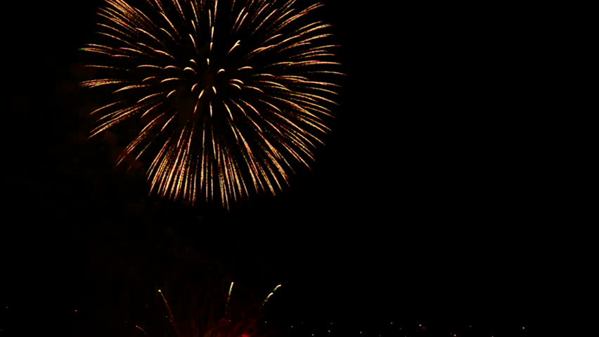 Fireworks explosion background video overlay with copy space for text