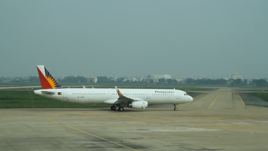 HO CHI MINH CITY -October 18: view of an airplane at the airport of Ho Chi Minh, Vietnam on October 18, 2014 - HD stock footage clip