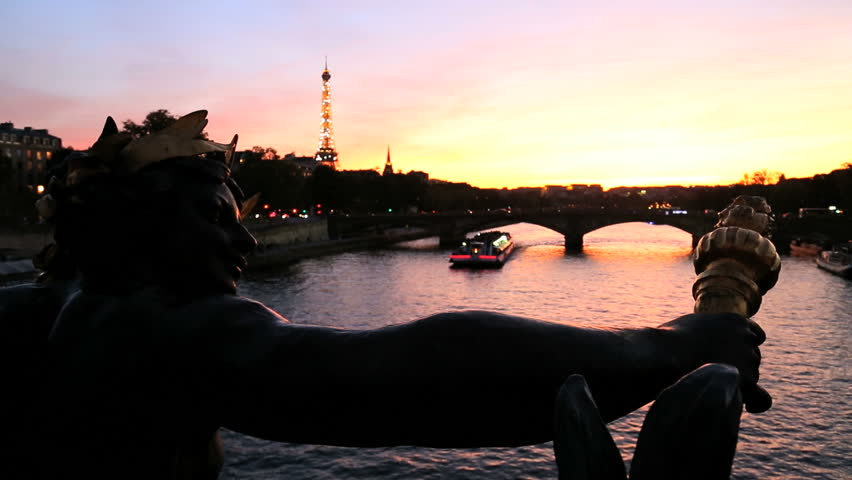 France - February 2015: France Paris Pont Alexandre 111 bridge River Seine Eiffel tower illuminated boat sunset cityscape travel capital - HD stock video clip