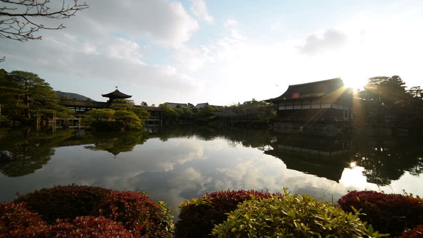 Time-lapse footage of Japanese garden at sunset at Heian jingu Shrine in Kyoto, Japan -Version 1-